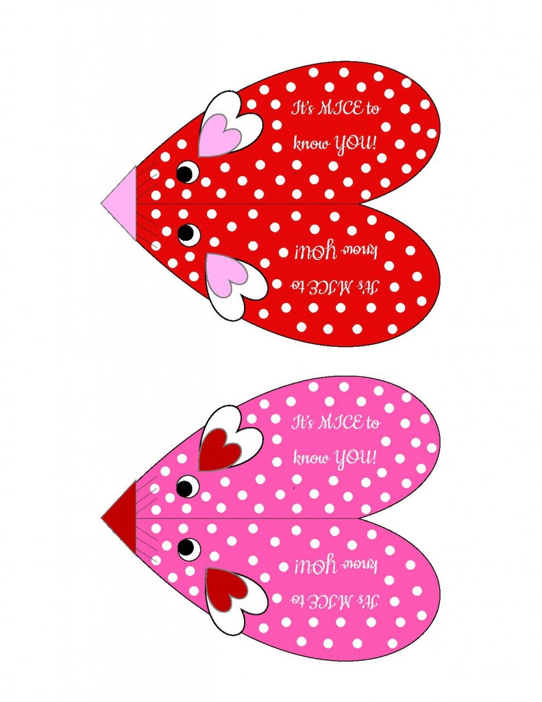 Decorated Valentine's Mice Template
