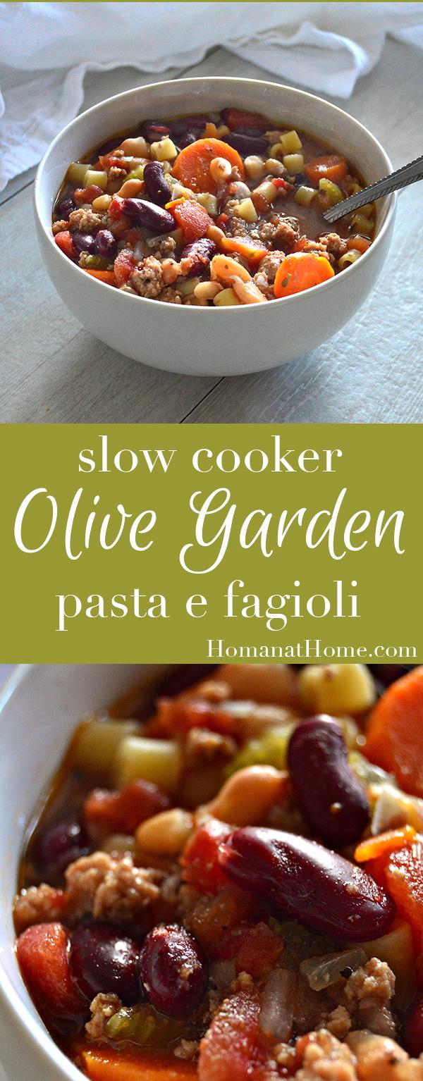 Slow Cooker Olive Garden Copycat Pasta e Fagioli | Homan at Home
