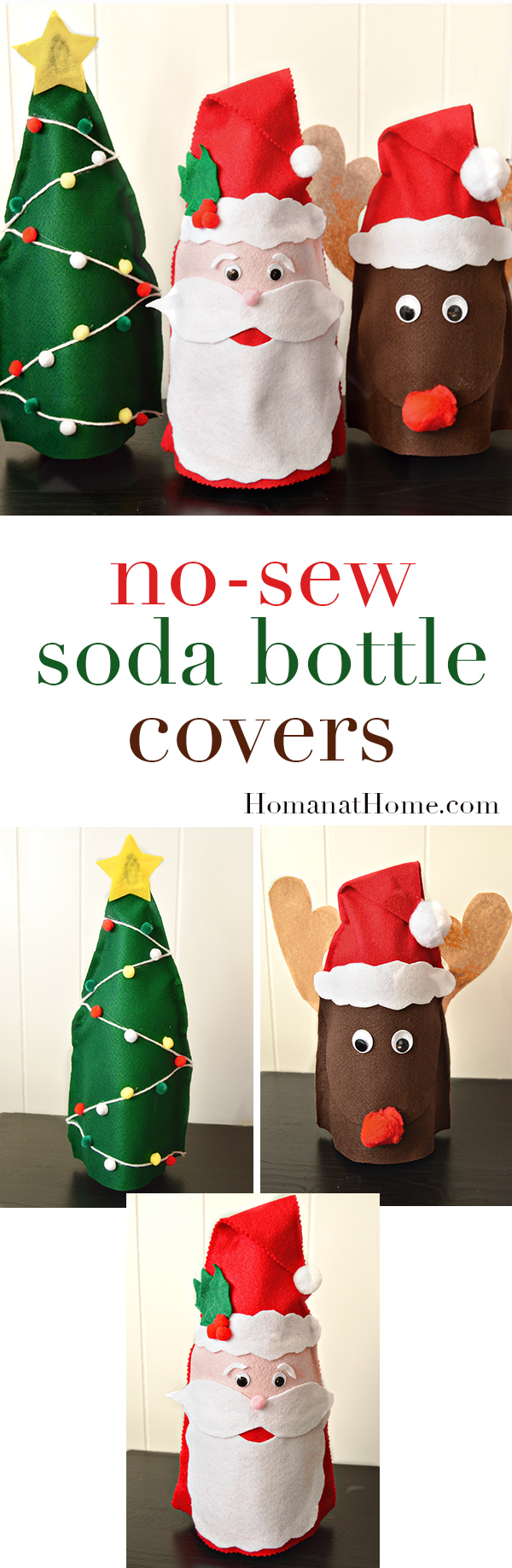 No Sew Christmas Soda Bottle Covers | Homan at Home