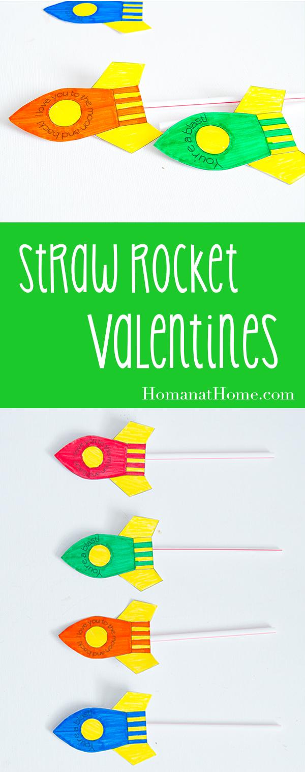 Straw Rocket Valentines | Homan at Home
