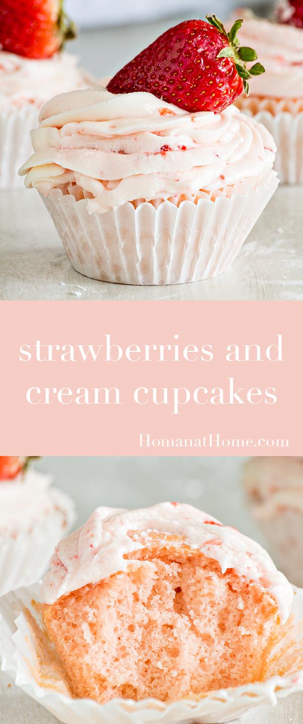 Strawberries and Cream Cupcakes | Homan at Home