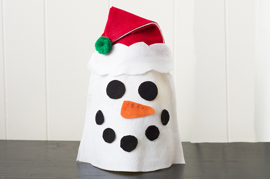 No Sew Snowman Soda Bottle Cover