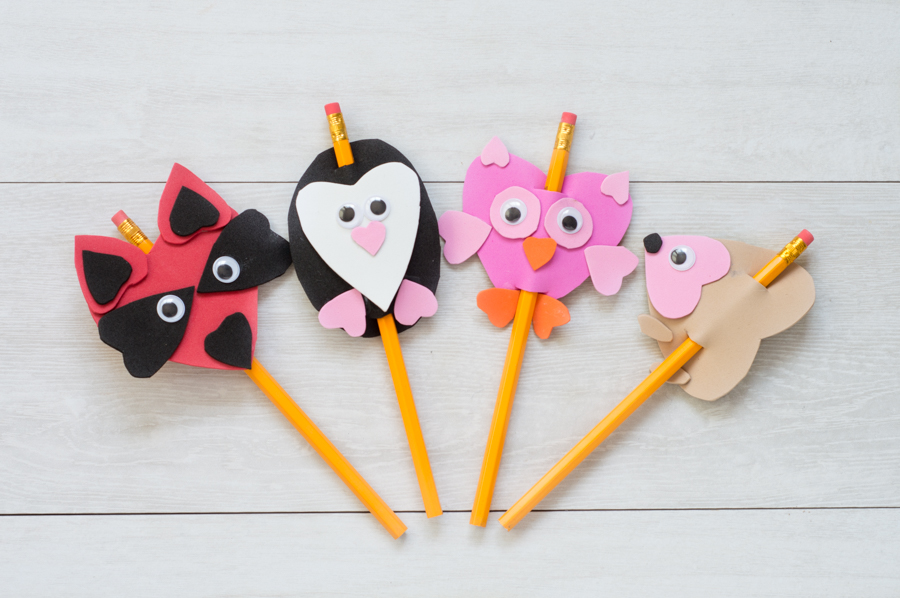 Valentines Foam Pencil Toppers