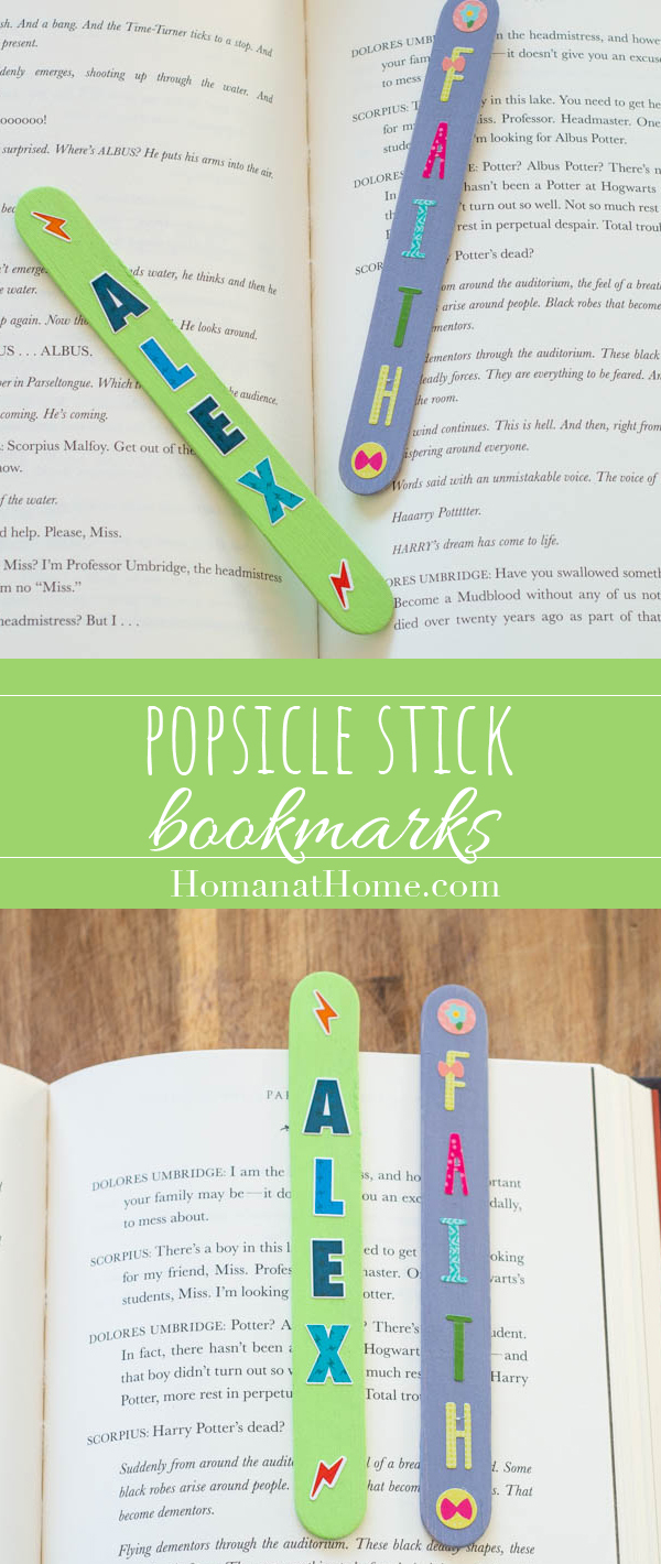 Popsicle Stick Name Bookmarks | Homan at Home
