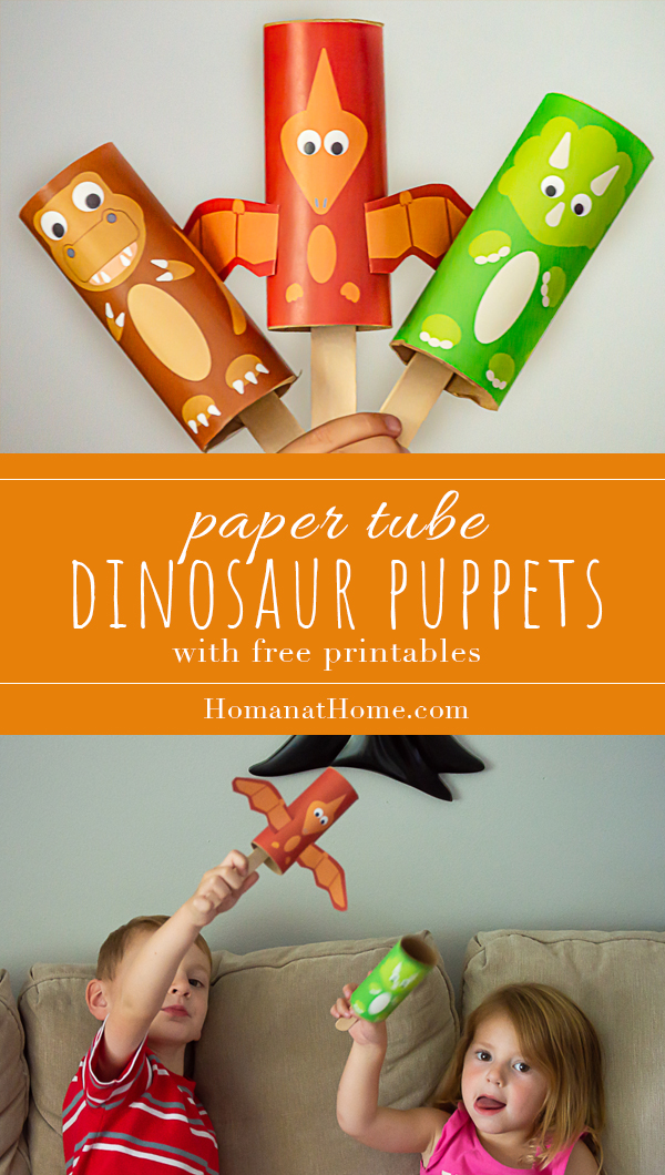 Paper Tube Dinosaur Puppets | Homan at Home