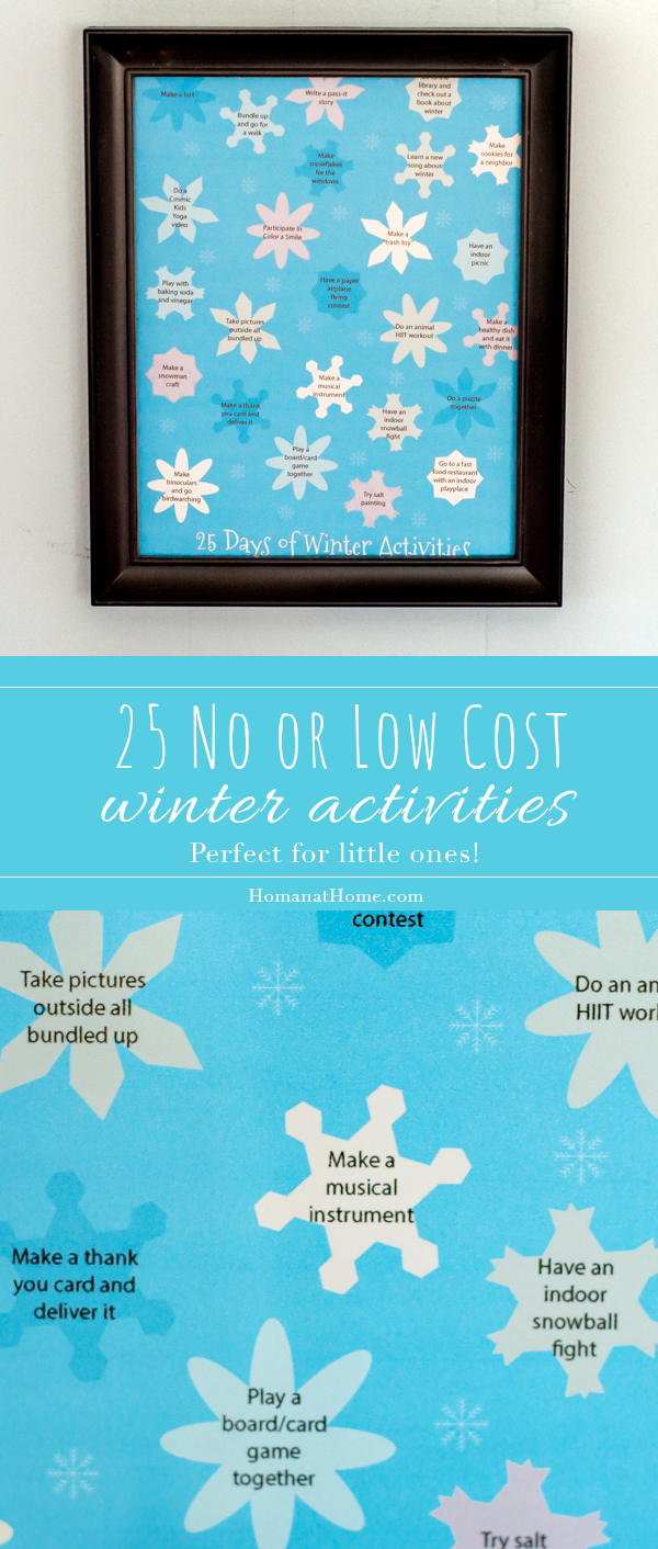 25 No or Low Cost Winter Activities | Homan at Home