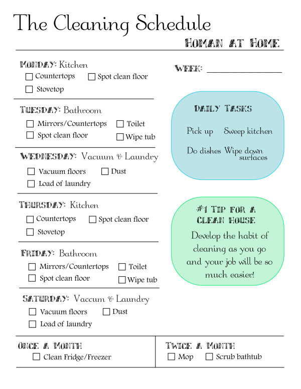 Cleaning Schedule Printable | Homan at Home