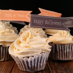 Salted Caramel Dark Chocolate Cupcakes with Halloween Cupcake Toppers